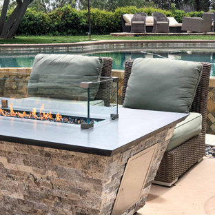 Custom Tapered Fire Table with Natural Stone – Propane
