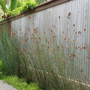 Immagine di un giardino minimal esposto in pieno sole con recinzione in metallo