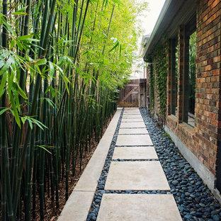 Halbschattiger, Mittelgroßer Moderner Garten neben dem Haus, im Frühling mit Betonplatten und Gehweg in Houston