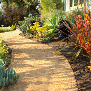 Inspiration for a small modern drought-tolerant and full sun front yard gravel walkway in Los Angeles.