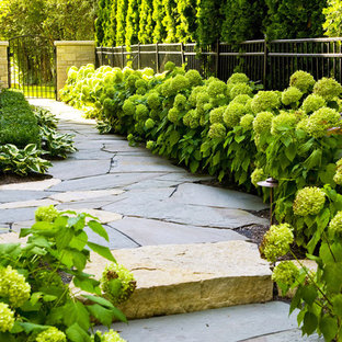 Photo of a traditional side yard stone garden path in Chicago.