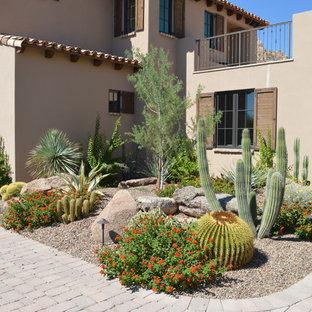 フェニックスのサンタフェスタイルのおしゃれな前庭 (ゼリスケープ) の写真