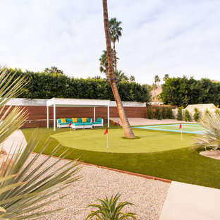 Photo of a mid-century modern full sun backyard outdoor sport court in Los Angeles.