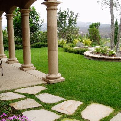 Design ideas for a mediterranean backyard stone landscaping in San Diego.