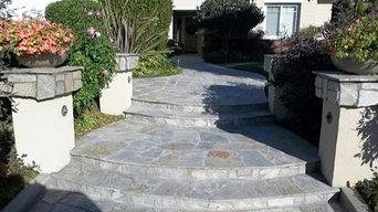 Driveway-walkway hardscape landscape design
