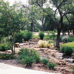 Стильный дизайн: солнечный, летний засухоустойчивый сад среднего размера на переднем дворе в стиле рустика с освещенностью и мощением тротуарной плиткой - последний тренд