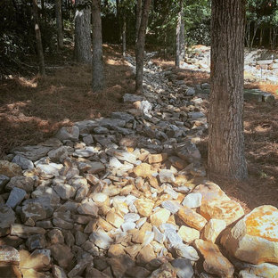 Inspiration for a traditional rock backyard river rock landscaping in Birmingham.