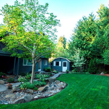 Dry Stream Bed and Paver Path in SW Portland, Oregon