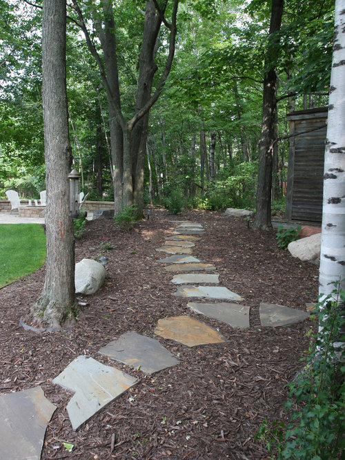 Landscaping With Mulch And Stone : Stone and mulch walkway houzz
