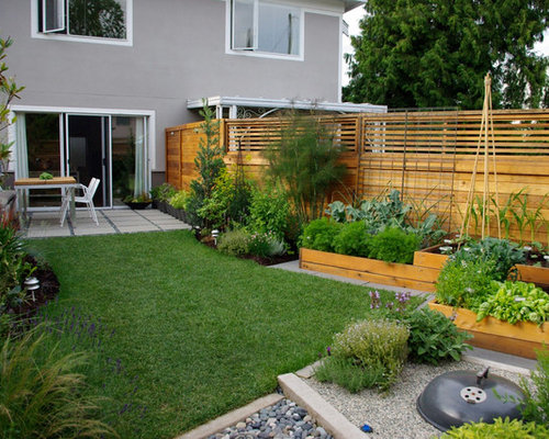 Photo Of A Contemporary Backyard Vegetable Garden Landscape In Vancouver