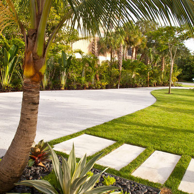 This is an example of a large tropical full sun front yard concrete paver driveway in Tampa for winter.