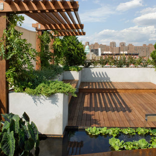 This is an example of a large contemporary rooftop full sun garden in New York with a water feature and decking.