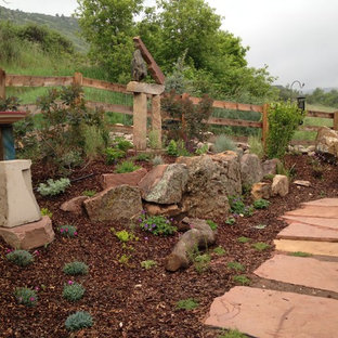 Design ideas for a large eclectic drought-tolerant and full sun backyard stone garden path in Denver.