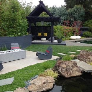 Foto på en stor orientalisk bakgård i full sol, med en damm