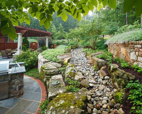Rock drainage swale houzz for Small backyard entertaining ideas