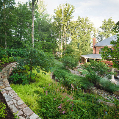 Design ideas for a mid-sized traditional backyard stone landscaping in DC Metro.