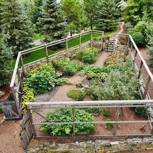 ミネアポリスの大きい、夏のラスティックスタイルのおしゃれな庭 (日向、マルチング舗装) の写真