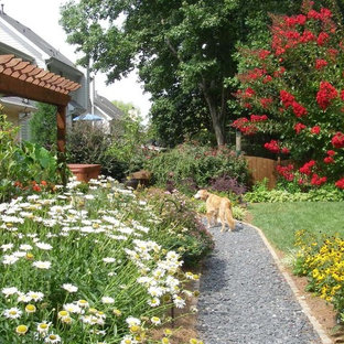 Mid-sized traditional backyard full sun formal garden in Atlanta with a garden path and gravel for summer.