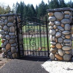 Portland gates landscape design ideas pictures remodel for River rock columns