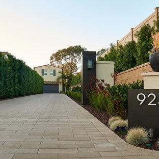 Großer Moderner Vorgarten mit Auffahrt, Kübelpflanzen und Pflasterklinker in San Diego