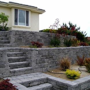 Imagen de jardín de secano, clásico, de tamaño medio, en patio delantero, con muro de contención y adoquines de piedra natural