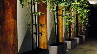 example of Asian design to cover boring wall, New York Plantings Garden Designer