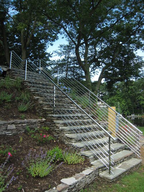 modelo de escalera recta con escalones de piedra caliza de piedra