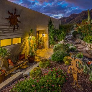 Photo of a southwestern drought-tolerant retaining wall landscape in Phoenix.