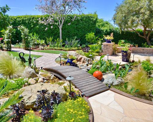 mediterraner vorgarten mit teich - ideen für die gartengestaltung, Gartenarbeit ideen