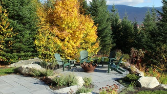 Fall landscape in the 1st year outdoor patio garden