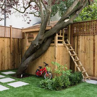 Design ideas for a classic garden in London with a climbing frame.