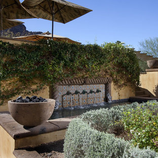 Garden in Phoenix with a retaining wall.