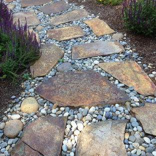 Design ideas for a small rustic full sun front yard stone garden path in San Francisco.