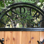 Custom Garden Gate In Iron And Cedar Contemporary