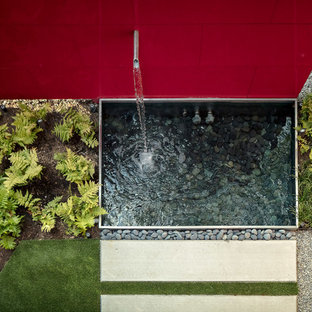 Ispirazione per un piccolo giardino minimalista in ombra dietro casa con fontane e pavimentazioni in cemento