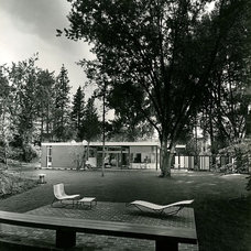 Midcentury Landscape Ferris House Spokane, Washington 1956 Black & White Image