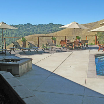 Fire Pit, glass railing, trex deck, swimming pool and spa