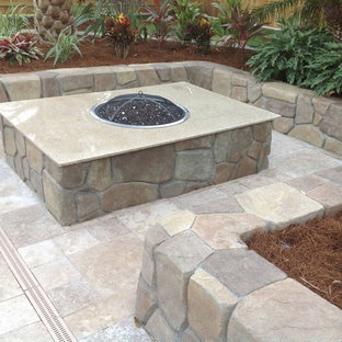 Inspiration for a large traditional stone landscaping in Cleveland with a fire pit.