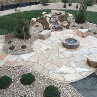Flagstone Patio, Seat Boulders, Water Feature and Fire Pit; Windsor, CO 2016