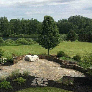 Flagstone Patio with Firepit and Seatwall