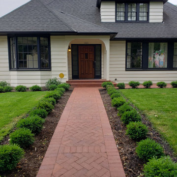 Formal Front Yard with Red Brick Pavers & Boxwood