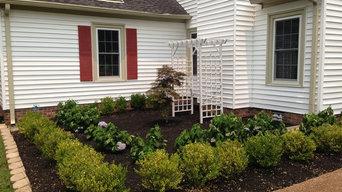 Formal Planting: Korean Boxwood and Blue Hydrangeas