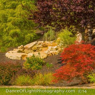 Inspiration för en mellanstor trädgård i full sol i slänt på sommaren, med en fontän