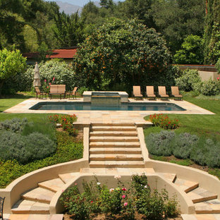 This is an example of a french country landscaping in Los Angeles.