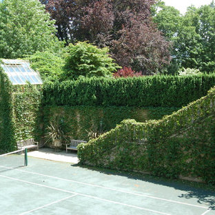 Design ideas for a huge traditional partial sun backyard outdoor sport court in Boston with decking for summer.