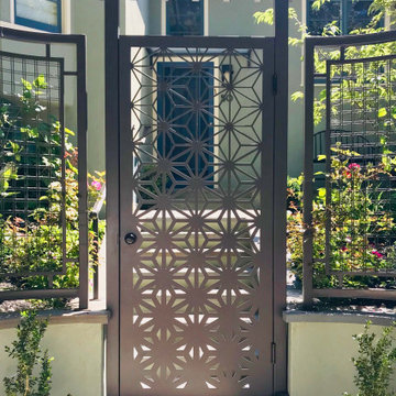 Front Entry Steel Gate, Arbor, and Fencing
