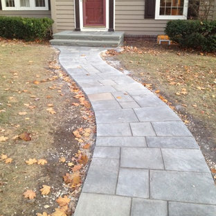 Inspiration for a mid-sized traditional front yard stone walkway in Minneapolis.