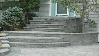 Front StoneStairs & Paver Driveway