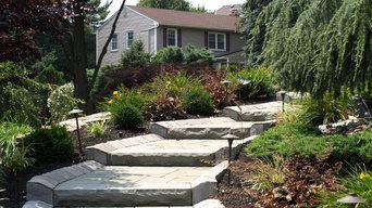Front Walkway, Planting, Stone Wall, & Stone Pillars