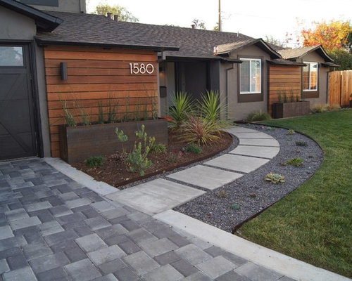 Modern front yard landscape ideas designs remodels photos for Modern front yard designs